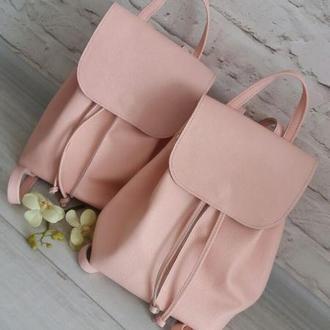 Кожаный рюкзак, цвет - розовый (пудровый) .