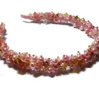Розовый жемчужный ободок, обруч из бусин на подарок девушке