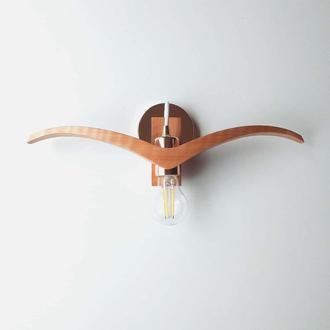 Дизайнерский светильник на стену Ночная Птица (Night Bird). Деревянное бра на стену. Светильник.