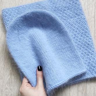 Нереальный вязаный комплект шапка бини + снуд пух норки голубого цвета hand made