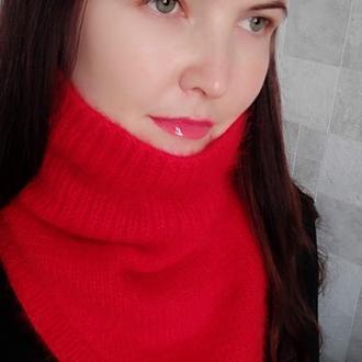 Роскошный снуд уголок ярко красного цвета пух норки 100% ручная работа пушистый снуд