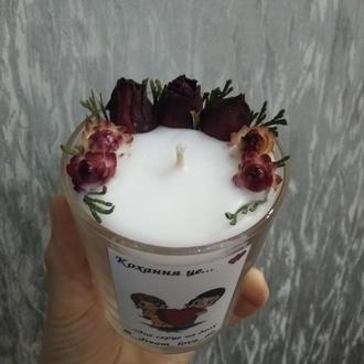 Свічка із сухоцвітами
