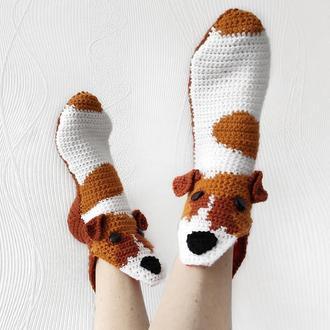Вязаные носки-собаки, размеры 30-39
