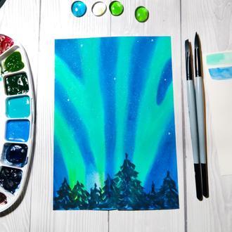 Акварельная картина Небо сияния посреди зимы.