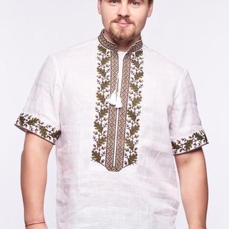 Сорочка вишиванка чоловіча Дуб (льон білий)