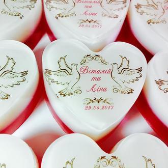 Подарки гостям свадьбы - мыло ручной работы с именами жениха и невесты