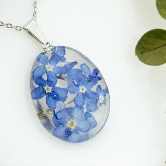 Подарок девушке на 8 марта день рождения Кулон с голубыми незабудками (модель № 2771) Glassy Flowers