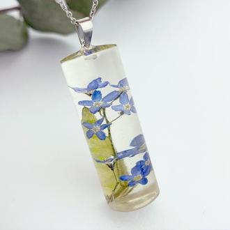 Подарок девушке на 8 марта день рождения Кулон колбочка с незабудками (модель № 2772) Glassy Flowers