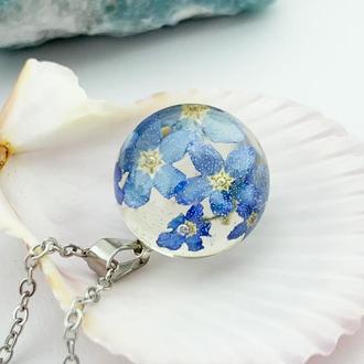 Подарок любимой цветы на 8 марта день рождения Кулон с незабудками (модель № 2773) Glassy Flowers