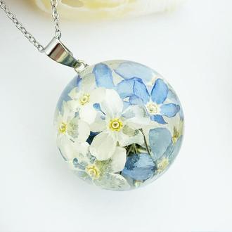 Подарок девушке цветы на 8 марта день рождения Кулон с незабудками (модель № 2778) Glassy Flowers