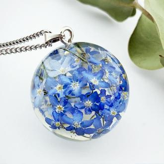 Подарок девушке цветы на 8 марта день рождения Кулон с незабудками (модель № 2779) Glassy Flowers