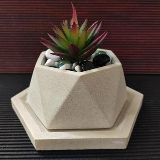 Горшок для цветов с подставкой,бетонное кашпо, кашпо под суккулент (Код Астра)