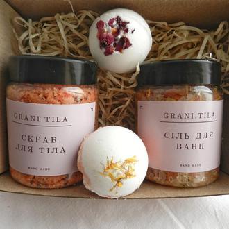 СПА набір: сіль та бомбочки для ванни та апельсиноіий скраб