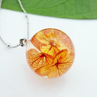 Подвеска с цветами гортензии. Подарок на 8 марта девушке кулон (модель № 2786) Glassy Flowers