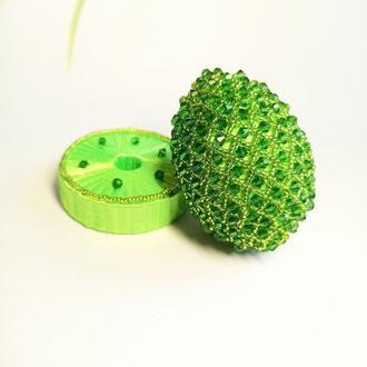 Зеленое эксклюзивное яйцо из бисера с подставкой, Лучший подарок на Пасху