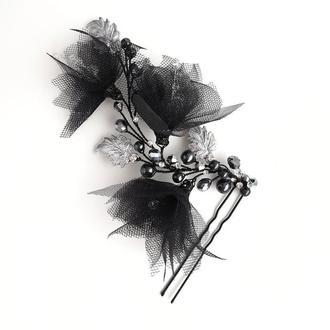 Черное украшение для волос, шпилька в прическу, черное украшение в прическу черная веточка