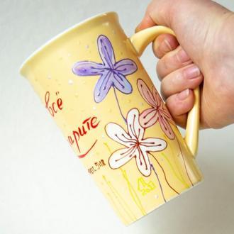 Чашки, роспись: За все благдарите / Роспись чашек с рисунком и надписью из Библии