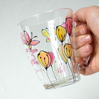 Чашки, роспись: Любовь никогда не перестает / Роспись чашек с рисунком и надписью из Библии