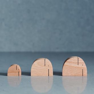 Слоники из дерева, комплект из 3-х штук