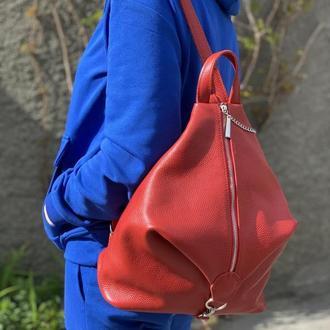 """Рюкзак женский """"Парис"""" натуральная кожа, красная"""