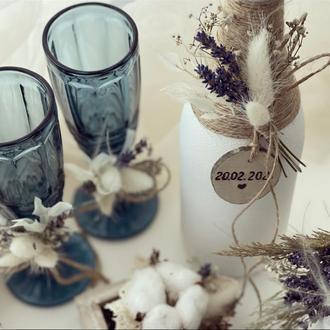 Декор весільного шампанського