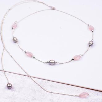 Ожерелье чокер на замочке-стоппере из серебра, розового кварца и жемчуга