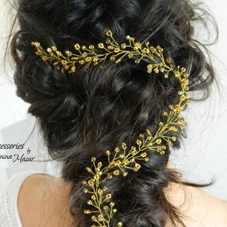 Золотистая лента для волос из бисера и проволоки