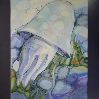Живопись Акварель, Медуза в бирюзовых водах, Винтажная картина