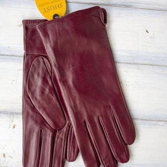 Женские кожаные перчатки бордо