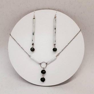 Сережки і підвіска з чорними річними перлами.