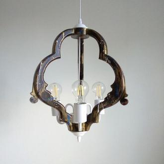 Подвесная люстра в оригинальном дизайне. Потолочная лампа ручной работы. Деревянный светильник.