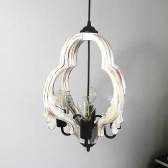 Дерев'яний вінтажний світильник. Стельовий світильник. Дизайнерська сучасна люстра ручної роботи.