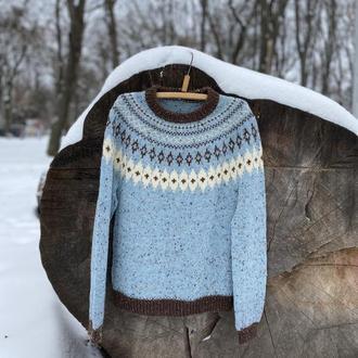 Вязаный твидовый свитер с узором лопапейса