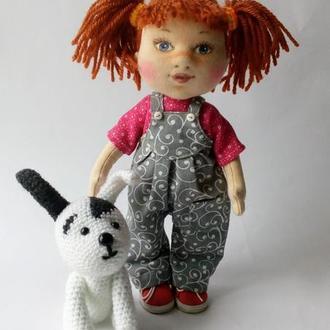 Текстильная кукла. Кукла с любимой собачкой.