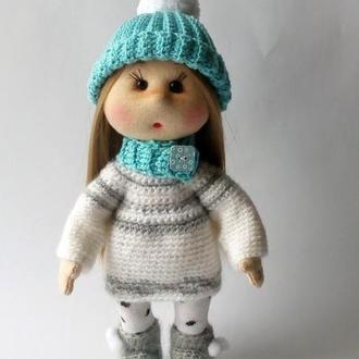 Авторская текстильная кукла. Кукла в вязаной одежде.