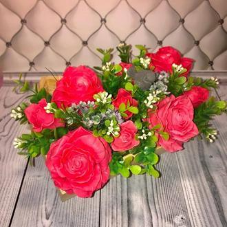 """Интерьерная композициия """" Розы в коробке"""""""
