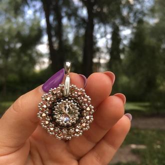 Розовое золото с серебром подвеска с кристаллом Swarovski и ювелирным бисером