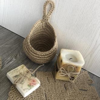 Органайзер гнездышко (подвесная корзинка-органайзер из джута) , эко- органайзер