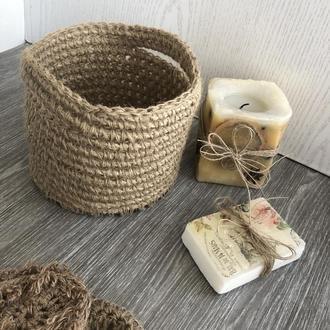 Корзинка с деревянным дном из джута , эко-корзина из джута