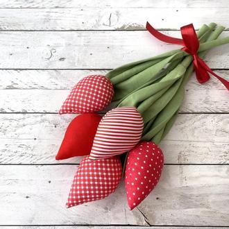 Букет текстильных тюльпанов тильда на 8 марта