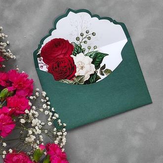 Конверт з дизайнерського паперу Imitlin з квітковим лайнером
