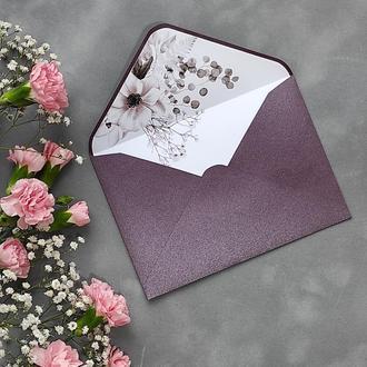 Конверт з дизайнерського паперу Stardream з квітковим лайнером