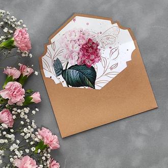 Конверт з дизайнерського паперу Folia з квітковим лайнером