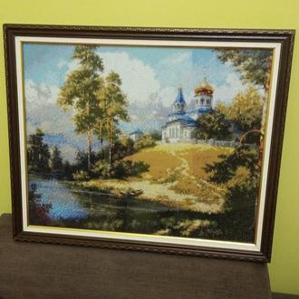 "Картина ""Церковь на холме"". Алмазная мозаика."
