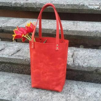 Красная сумка-шоппер из натуральной кожи, сумка тоут, кожаная сумка, кожаной шоппер, крейзи хорс