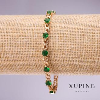 Браслет Xuping с зелеными камнями бесконечность s-5мм L-17-19,5см позолота с удлинительным звеном Ар