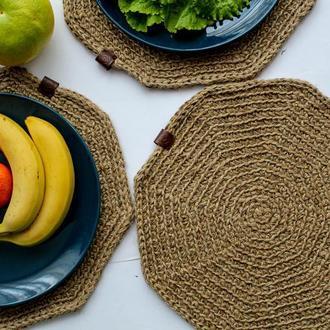 Подставки под тарелки плетенные из натурального джута/ Подтарельники на обеденный стол