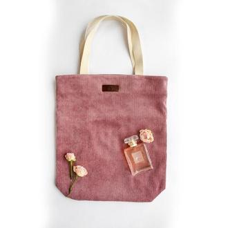 Вельветовая тоут-сумка розовая через в стиле casual с подкладкой и карманом