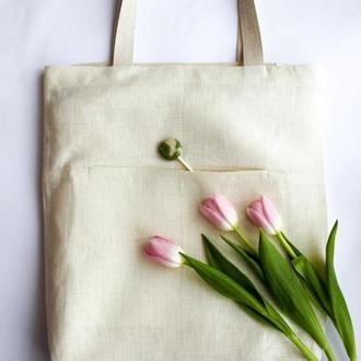 Стильная белая эко-сумка из оршанского льна. Рисунок-персонализация
