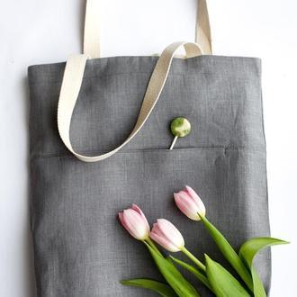 Стильная серая эко-сумка из оршанского льна в стиле casual. Рисунок-персонализация
